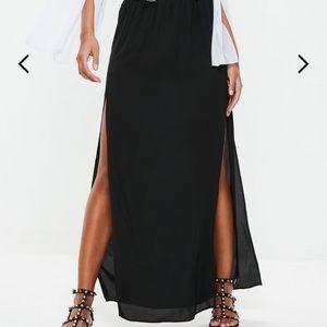 Dresses & Skirts - Navy Blue Boho Gauze Maxi Skirt with Slits   Large